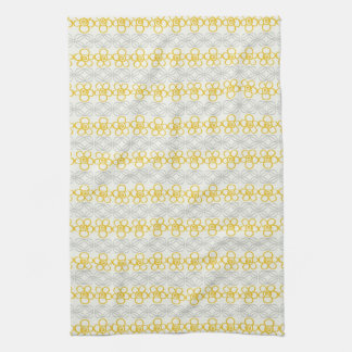 Yellow flowers with gray design kitchen towels