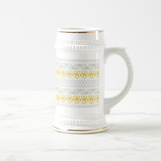 Yellow flowers with Gray 18 Oz Beer Stein