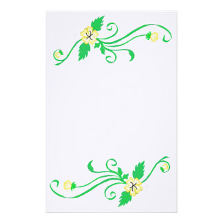 Yellow Flowers with Green Vine Stationery