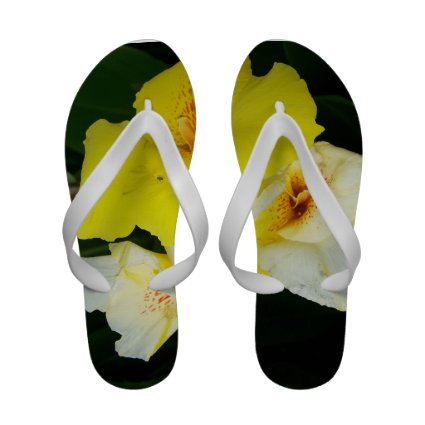 yellow flowers with orange spots sandals