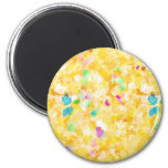 Yellow Flowery Background 2 Inch Round Magnet