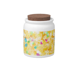 Yellow Flowery Background Candy Dish