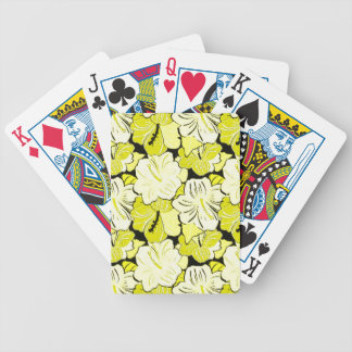 YELLOW  FLOWERY HIBISCUS FLOWERS BACKGROUND PATTER BICYCLE PLAYING CARDS