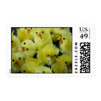 Yellow Fluffy Chickens Postage Stamp