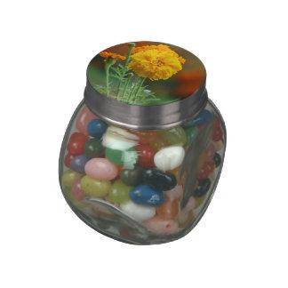 Yellow Fluffy Marigold Flower Glass Jars
