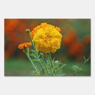yellow Fluffy Marigold Flower Lawn Sign
