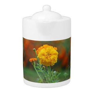 Yellow Fluffy Marigold Flower Teapot