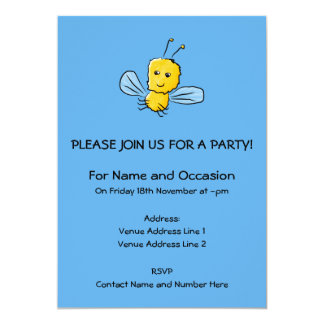 Yellow Flying Insect Bug 5x7 Paper Invitation Card