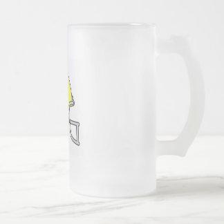Yellow Football Helmet Frosted Glass Beer Mug