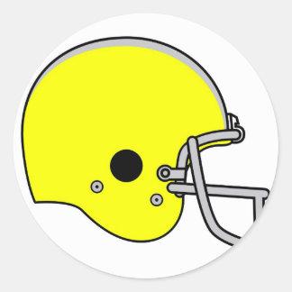 yellow football helmet classic round sticker
