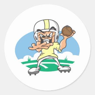Yellow Football Player Classic Round Sticker
