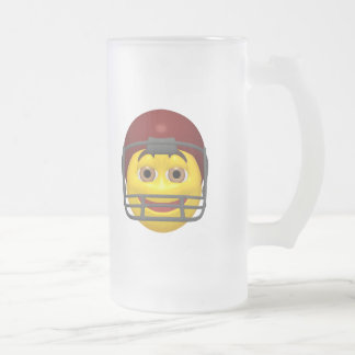 Yellow football smiley face frosted glass beer mug