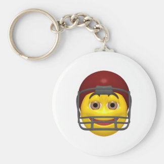 Yellow football smiley face keychain