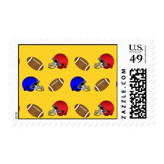 Yellow footballs helmets pattern postage