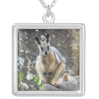 yellow footed wallaby silver plated necklace