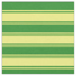 [ Thumbnail: Yellow & Forest Green Colored Lines Fabric ]