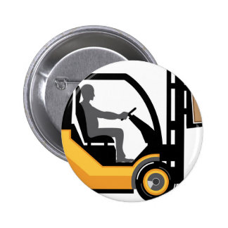 Yellow forklift pinback button