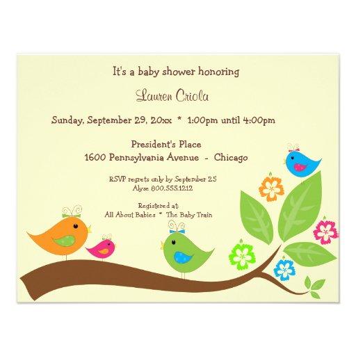 Yellow Four Birdies Baby Shower Invitation