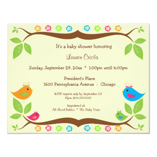 Yellow Four Birds Floral Baby Shower Invitation