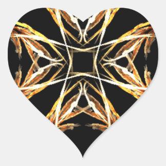 Yellow Fractal Art Flame Heart Heart Sticker