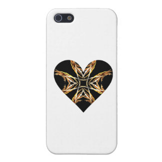 Yellow Fractal Art Flame Heart iPhone 5 Case