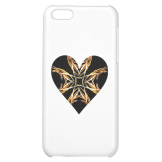 Yellow Fractal Art Flame Heart Case For iPhone 5C