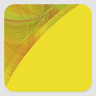 Yellow Fractal Background Square Sticker