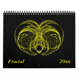 Yellow Fractal Calendar - Customize Dates