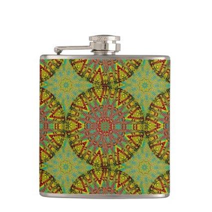 Yellow Fractal Pattern Flask