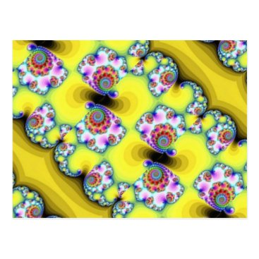 Beach Themed Yellow fractals postcard