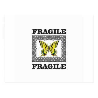 yellow fragile postcard