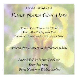 Yellow Fragrant Iris 5.25x5.25 Square Paper Invitation Card