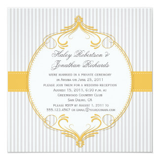 Yellow Frame Gray White Stripes Wedding Card
