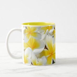 Yellow Frangipani Bouquet, Two-Tone Coffee Mug