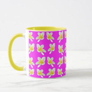 Yellow Frangipani Flowers On Pink Backgrrond, Mug