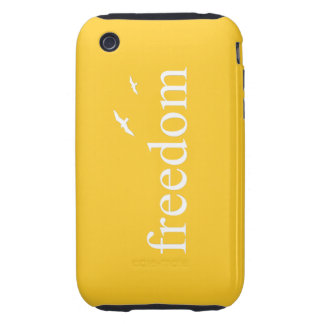 Yellow Freedom Quote Tough iPhone 3 Case
