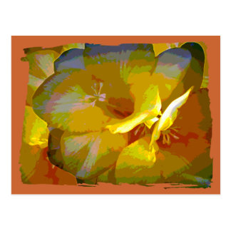 Yellow Freesia Digital Manipulation Postcard