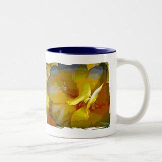 Yellow Freesia Digital Manipulation Two-Tone Coffee Mug
