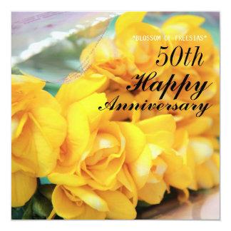Yellow Freesias 50th Wedding Anniversary Card