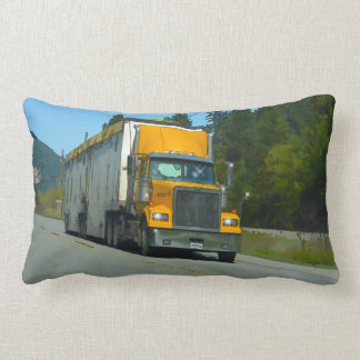 Yellow Freight Lorry for Truckers & Truck-lovers Lumbar Pillow