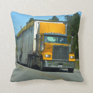 Yellow Freight Lorry for Truckers & Truck-lovers Throw Pillow