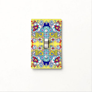 Yellow French Country Colors Paisley Hearts Light Switch Cover