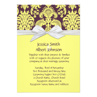 Yellow French Country Damask Wedding Invite
