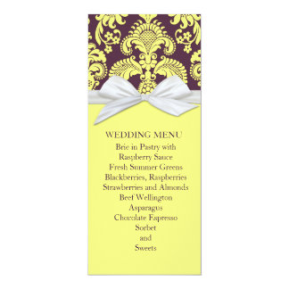 Yellow French Country Damask Wedding Menu 4x9.25 Paper Invitation Card