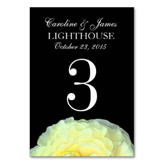 Yellow Frilly Rose Custom Wedding Table Number 3 Table Card