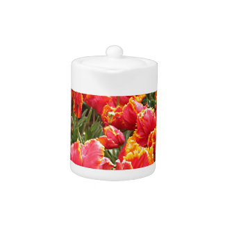 Yellow fringed red tulips teapot