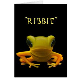 Yellow Frog Ribbit Birthday Card