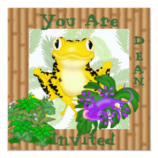 YELLOW FROG WITH LIZARD CUTE Kids Invitation