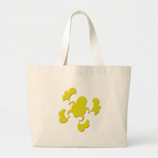 Yellow Froggy Design Large Tote Bag