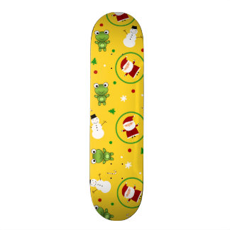 Yellow frogs santa claus snowmen skate board